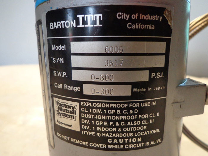 BARTON ITT PRESSURE TRANSMITTER W/ DIAPHRAGM