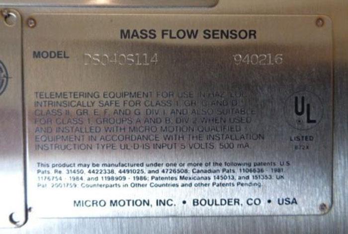 MICRO MOTION D-SERIES CORIOLIS FLOW METER DS040S114 (O)