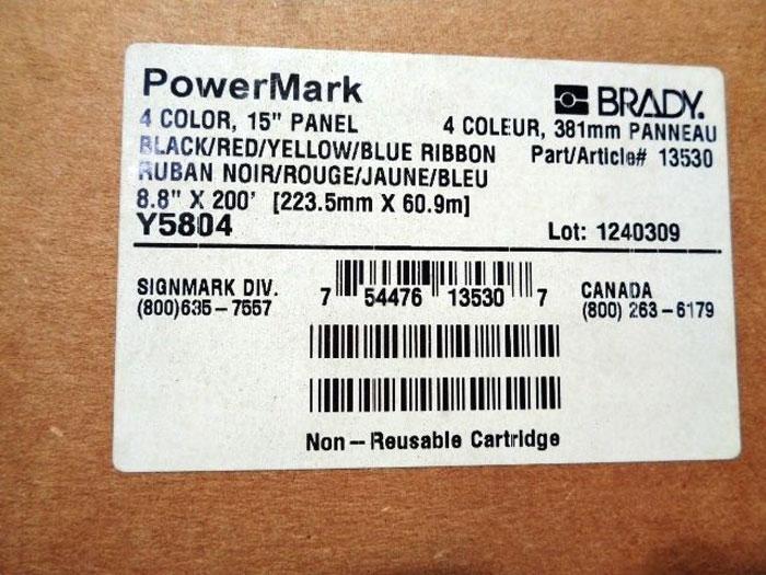"BRADY POWERMARK 4 COLOR, 15"" PANEL BLACK/RED/YELLOW/BLUE RIBBON  #13530"