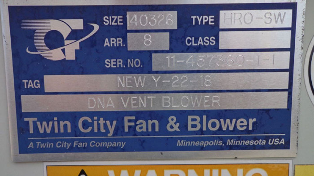 TWIN CITY FAN & BLOWER - DNA VENT BLOWER HRO-SW (PAP29)