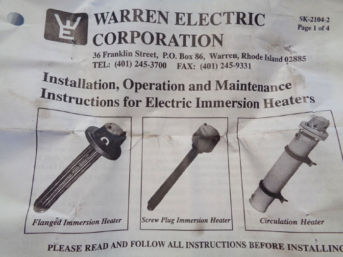 WARREN ELECTRIC SCREW PLUG IMMERSION HEATER, XRS-9-4-24SS*3