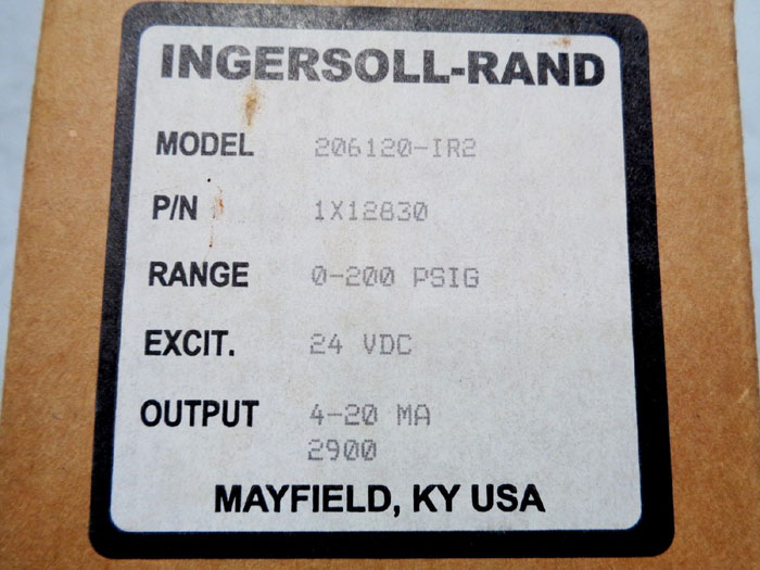 INGERSOLL RAND PRESSURE TRANSMITTER, PART#: 1X12830, MODEL#: C206