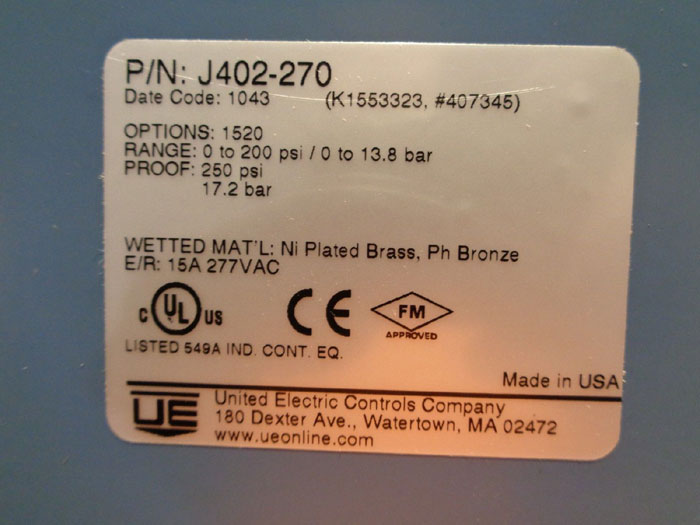 UNITED ELECTRIC PRESSURE SWITCH, #J402-270, #H400-553