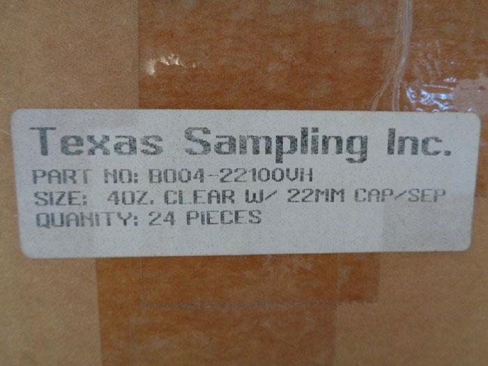 TEXAS SAMPLING INC. 4 OZ. VINYL COATED GLASS BOTTLES W/ CAP & SEPTA, LOT OF (96)