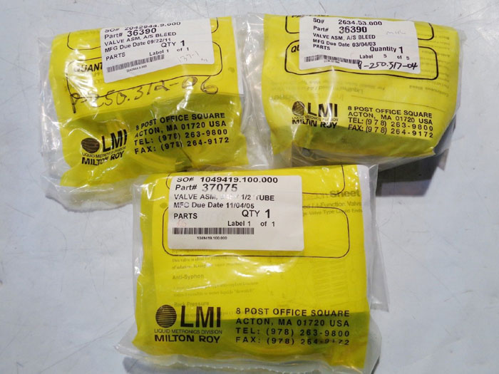 LOT OF (3) LMI MILTON ROY VALVES ASSEMBLIES