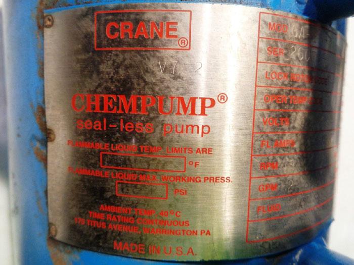CRANE CHEMPUMP MODEL GA-1K-3T