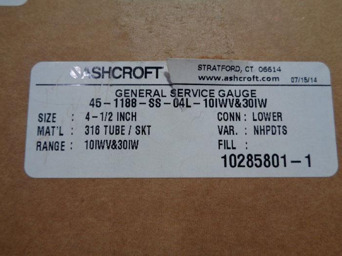 "ASHCROFT GENERAL SERVICE 4 1/2"" VACUUM GAUGE 45-1188-SS-04L"