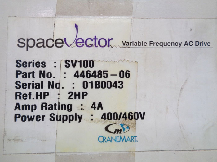 CRANE MART / SPACE VECTOR SV100 FREQUENCY AC DRIVE 446485-06
