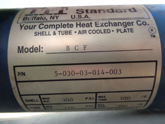 ITT Standard BCF Shell and Tube Heat Exchanger, Copper Tubes, 5-030-03-014-003