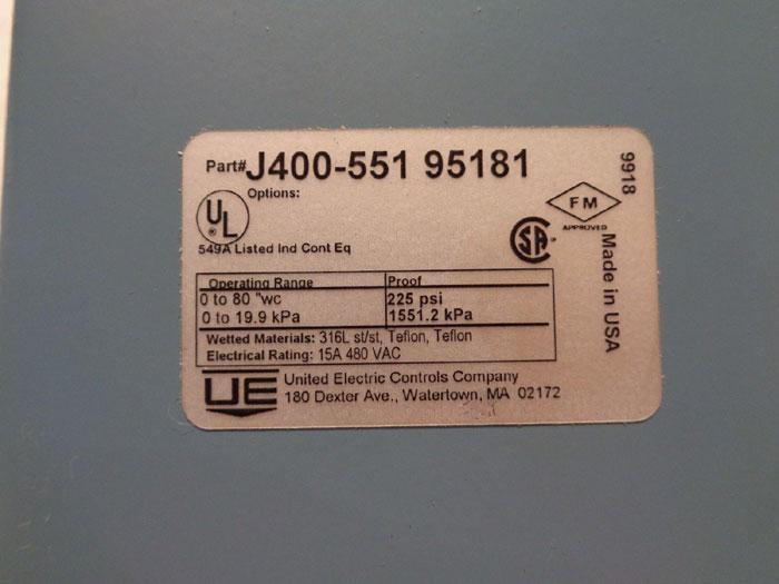 UNITED ELECTRIC PRESSURE SWITCH J400-551-95181