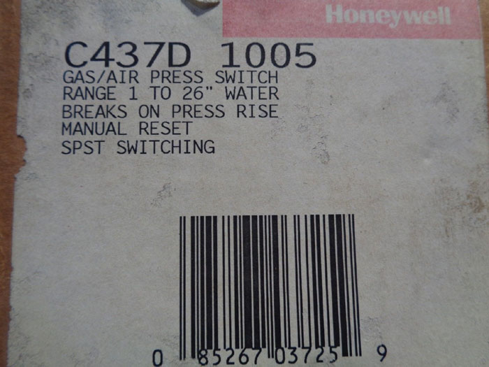 HONEYWELL GAS/AIR PRESSURE SWITCH C437E 1004 OR C437D 1005