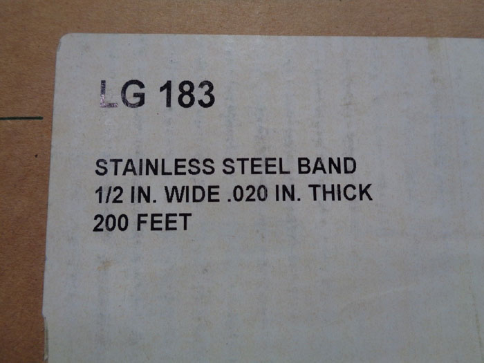 STAINLESS ISO STRAPPING BAND LG 183 OR SAMUEL STRAPPING SSST6020PC W/ BUCKLES