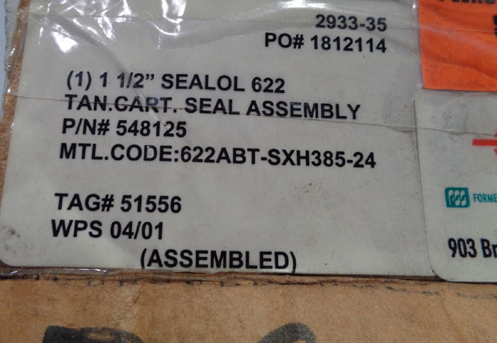 "EG & G SEALOL #622 1-1/2"" CARTRIDGE SEAL 548125"