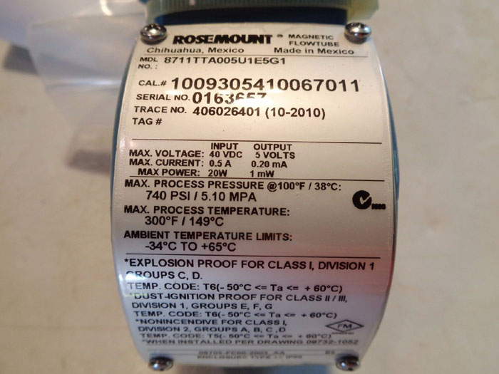 ROSEMOUNT MAGNETIC FLOW TUBE - 8711TTA005U1E5G1
