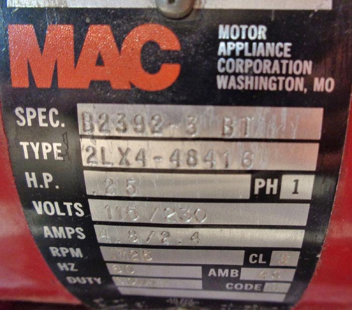 LOT OF VANTON FLEX-I-LINER PUMP 00-PY30B & PARTS W/ MAC MOTOR 2LX4-4816