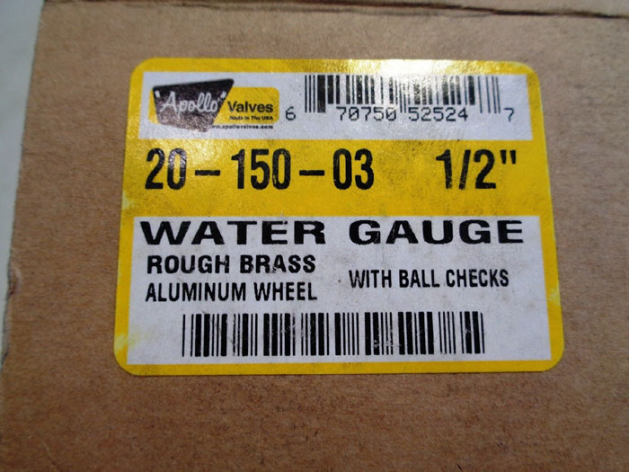 """LOT OF (2) PAIRED 1/2"""" APOLLO WATER GAUGE VALVE 20-150-03"""