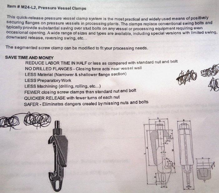 JAYGO SEGMENTED PRESSURE VESSEL SCREW CLAMP M24-L2-B7 *LOT OF (10)*