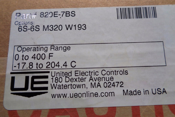 UNITED ELECTRIC INDICATING TEMPERATURE SWITCH 820E-7BS