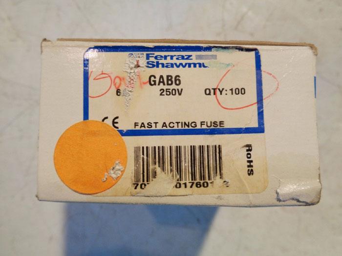LOT OF (200) FERRAZ SHAWMUT FAST ACTING FUSES, 10AMP GAB10 & 6AMP GAB6