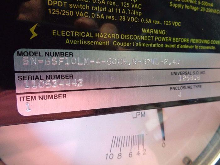 "UNIVERSAL FLOW MONITOR 1/2"" VARIABLE AREA FLOWMETER N-BSF10LM-4-50CS.9-R7WL-2.4D"