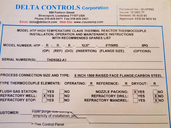 "DELTA HTP HIGH TEMP CLAUS REACTOR THERMOCOUPLE HTP-R-R-R-12.37""-6""/150RS-XPG"