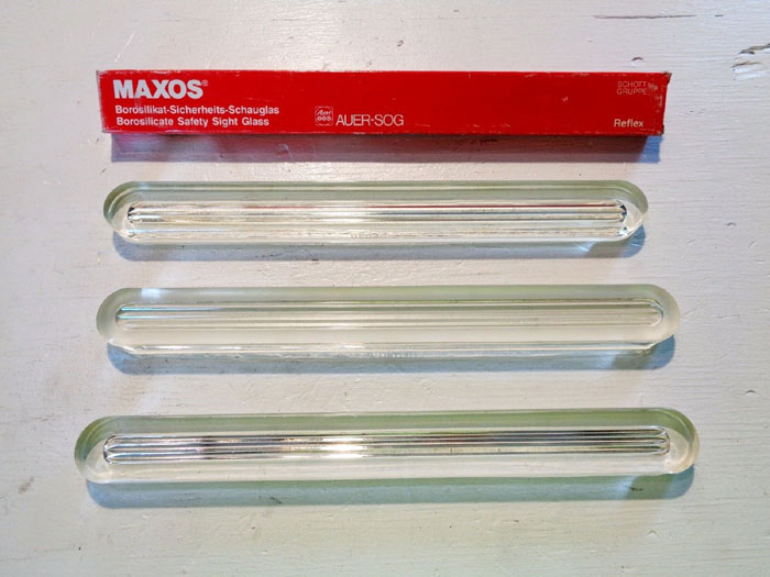 "LOT OF (22) MAXOS & MACBETH SAFETY REFLEX SIGHT GLASS, SIZES: 5"", 6"", 7"", 8"", 9"""