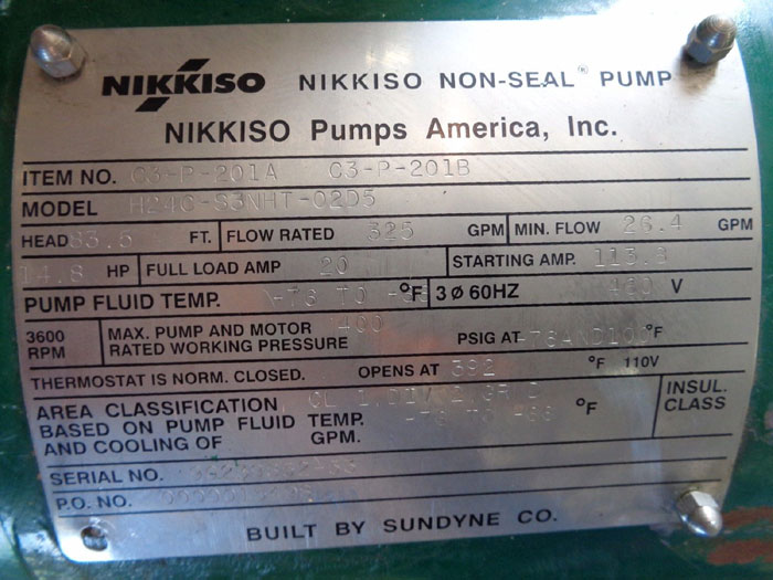 NIKKISO SUNDYNE NON-SEAL PUMP CAN # 03-P-201A C3-P-201B, MODEL#: H24C-S3NHT-02D5