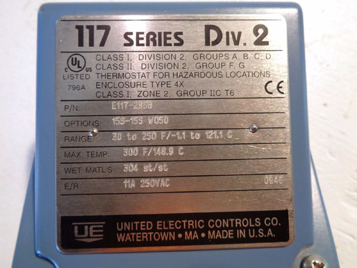 UNITED ELECTRIC CONTROLS TEMPERATURE SWITCH E117-2BSB