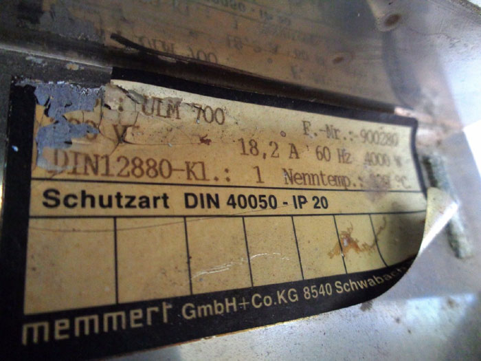 WISCONSIN MEMMERT 4,000 WATT 5-RACK OVEN ULM 700 W/ EUROTHERM 2416