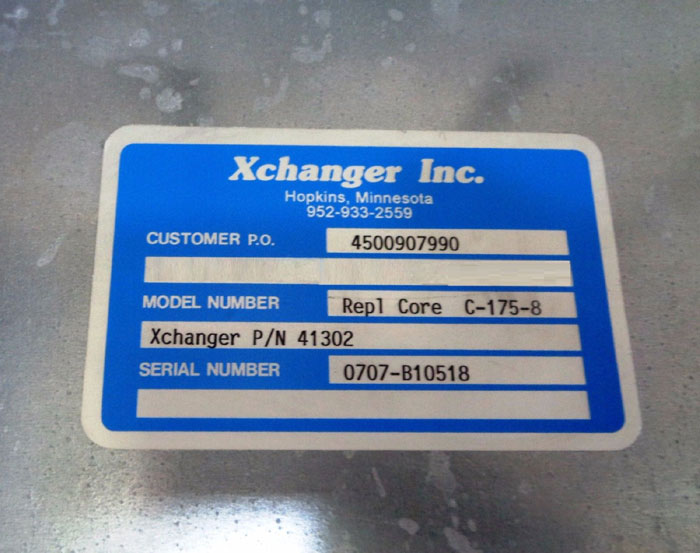 XCHANGER INC. HEAT EXCHANGER REPLACEMENT COIL CORE C-175-8, PART#: 41302