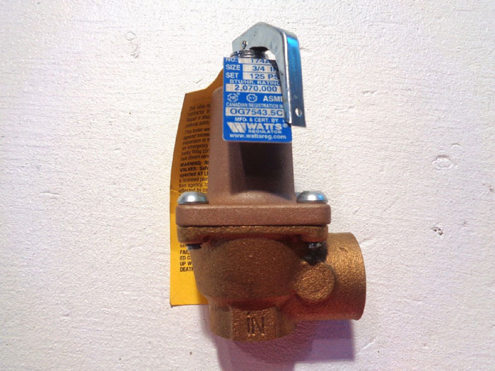 """WATTS 3/4"""" ASME WATER PRESSURE RELIEF VALVE, 125 PSI, RAISED SEAT 174A"""
