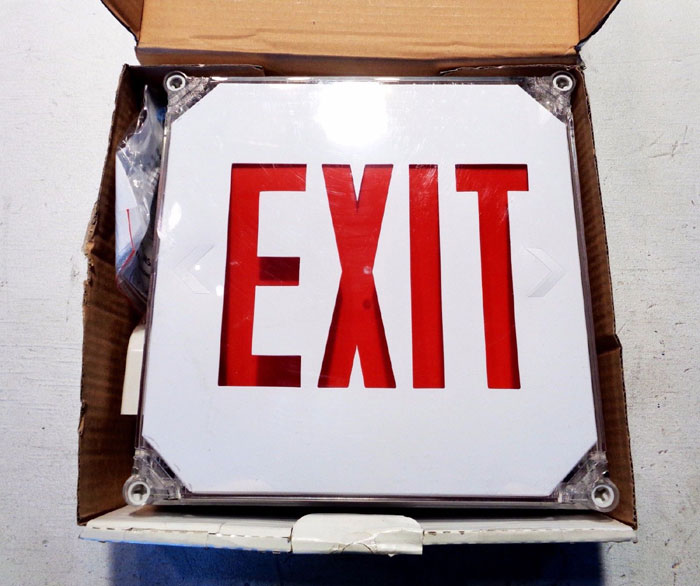 LOT OF (8) EXIT LIGHT CO. WET LOCATION EMERGENCY EXIT SIGN WL-R