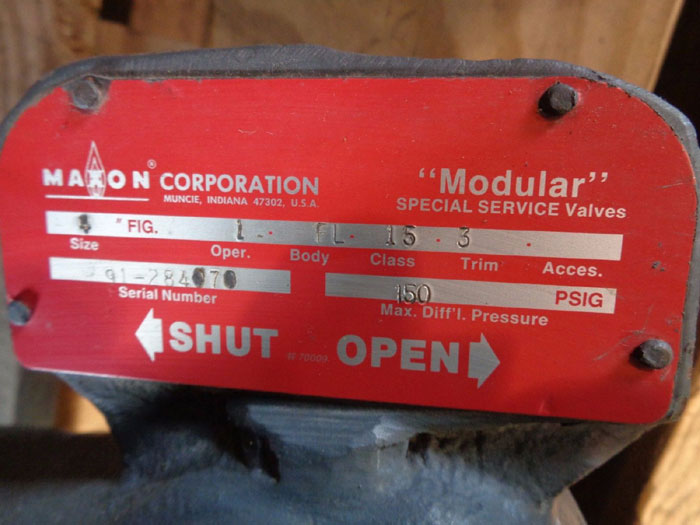 "MAXON CORP 4"" QUICK OPENING MODULAR SPECIAL SERVICE VALVE W/ LEVER"