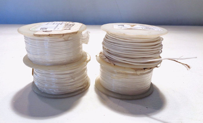 LOT OF (4) BELDEN SPOOLS OF WHITE TEFLON 22 AWG 1,000V WIRE, MODEL#: 83026-100-9