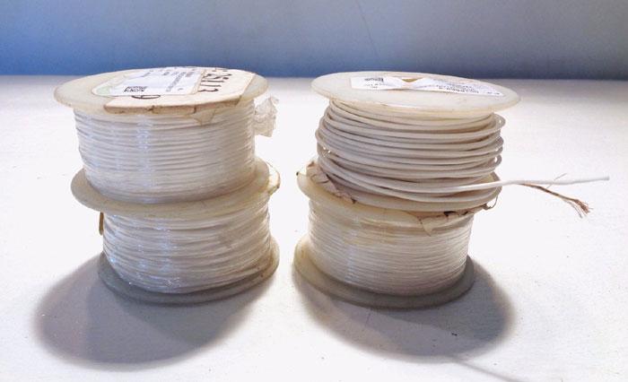 LOT OF (4) BELDEN SPOOLS OF WHITE TEFLON 22 AWG 1,000V WIRE, MODEL#: 83026-100-9