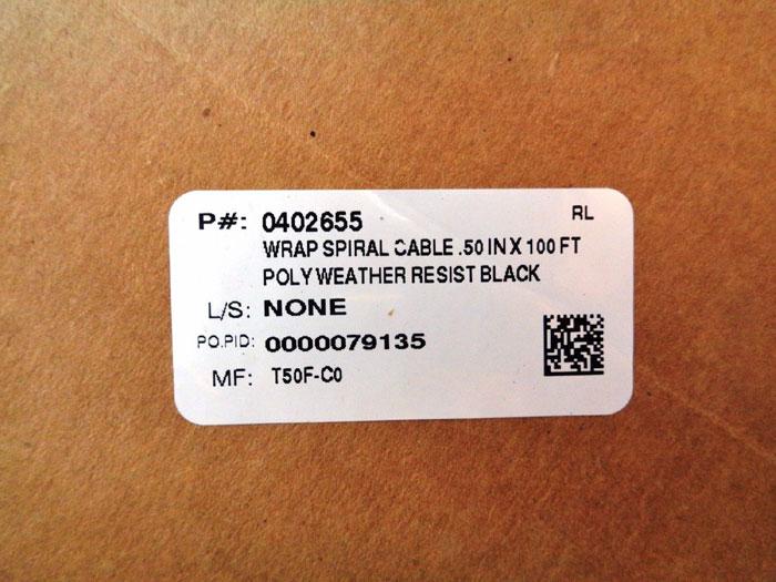 """PANDUIT BLACK CABLE WIRE WRAP .50"""" X 100' SPOOL #T50F-C0"""