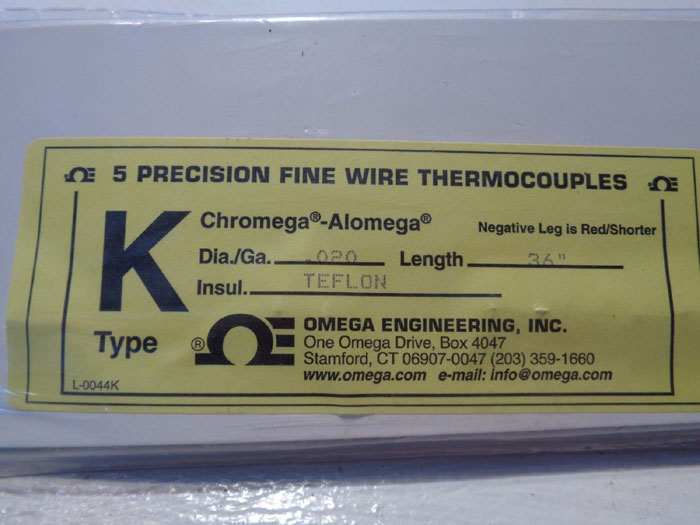LOT OF (7) OMEGA 5-PACK K-TYPE THERMOCOUPLE WIRE, PN#: 5TC-TT-K-24-36