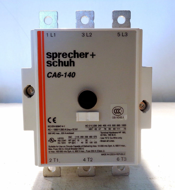 SPRECHER & SCHUH CA6 CONTACTOR, CA6-140-11-120B