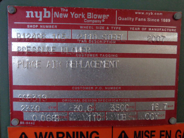"NEW YORK BLOWER CO. 10"" O.D. PRESSURE BLOWER 2330 CFM, 2110 STEEL, #B12496 105"
