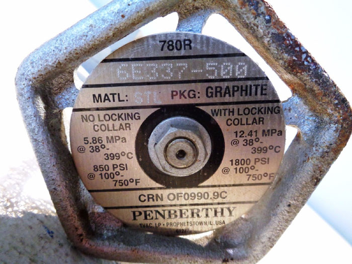 "PAIR OF 3/4"" X 3/4"" X 1/2"" PENBERTHY GAGECOCK VALVES #780R, PART#: 6E337-500"