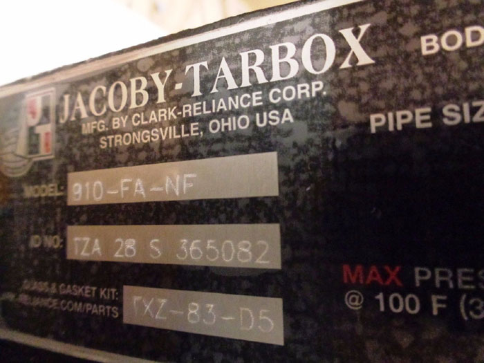 "JACOBY TARBOX 6"" BULLS-EYE PLAIN TYPE FULL VIEW SIGHT FLOW INDICATOR #910-FA-NF"