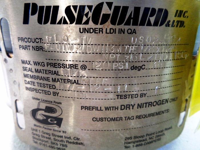PULSEGUARD INC. HIGH PRESSURE PULSATION DAMPENER FLOTW71DW113MTFE1/8X1/8