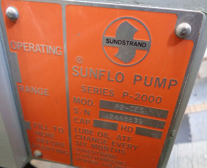 "SUNDSTRAND 2"" 300# SUNFLO PUMP SERIES P2000, MODEL#: P2-CES"