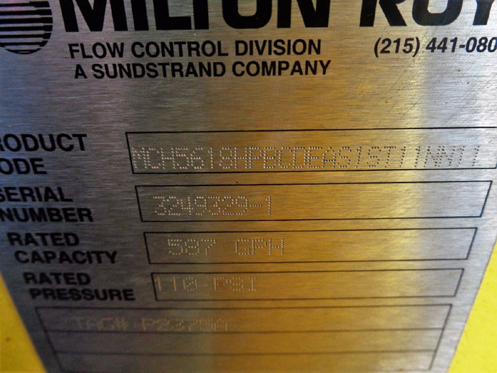 MILTON ROY MILROYAL SERIES C PROPORTIONING METER PUMP MCH5618HPBCDEAS1ST11NN11