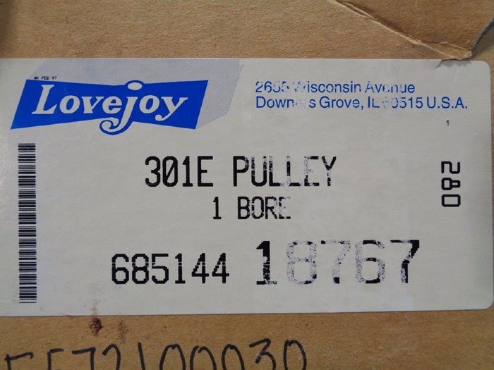 "LOVEJOY 301E VARIABLE SPEED PULLEY 1"" BORE"