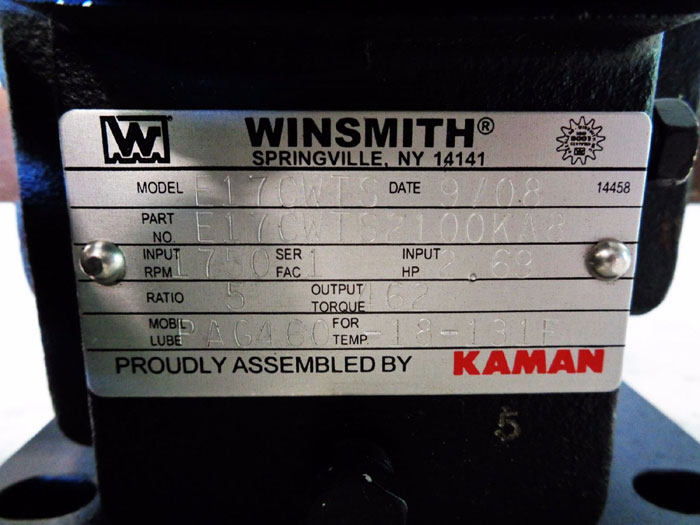 WINSMITH SE ENCORE E17 WORM GEAR SPEED REDUCER W/ WINGUARD E17CWTS2100KA8