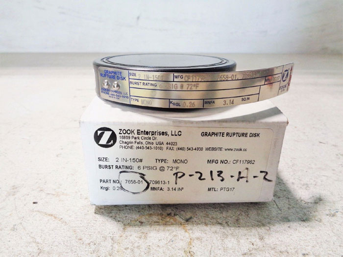 "LOT OF(2) ZOOK 2"" 150# GRAPHITE RUPTURE DISC CF117962, 7658-01, 709613-1"