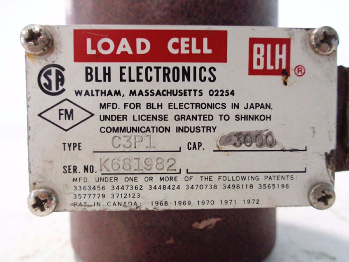 BLH ELECTRONICS 3,000 CAPACITY LOAD CELL TYPE C3P1