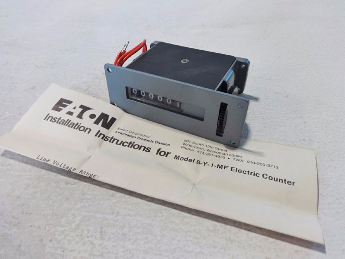 EATON ELECTRIC 6-DIGIT COUNTER 6-Y-1-MFU