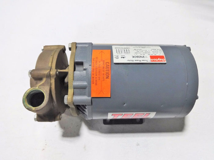 "TEEL 1-1/4"" CLOSE COUPLED BRONZE CENTRIFUGAL PUMP 1P793 W/ DAYTON MOTOR 3N090K"